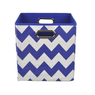 Modern Littles Chevron Folding Storage Bin in Bold Blue