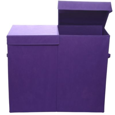 Modern Littles Folding Double Laundry Basket in Color Pop Purple