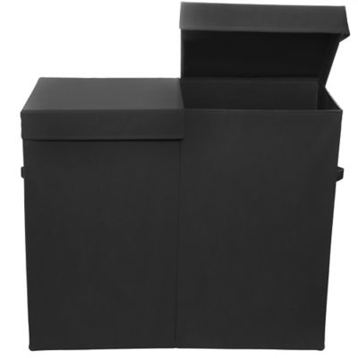 Modern Littles Folding Double Laundry Basket in Black