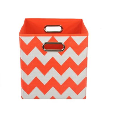 Modern Littles Chevron Folding Storage Bin in Bold Red