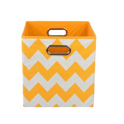 Modern Littles Chevron Folding Storage Bin in Bold Orange