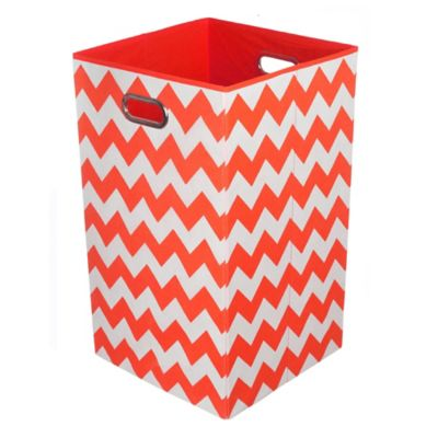 Modern Littles Chevron Folding Laundry Basket in Bold Red