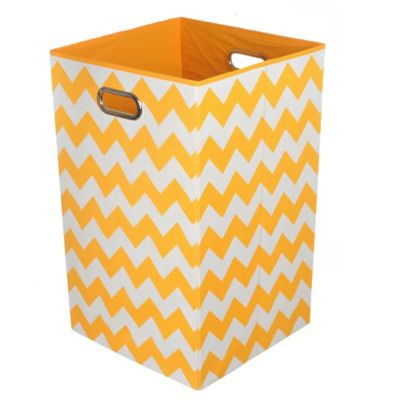 Modern Littles Chevron Folding Laundry Basket in Bold Orange