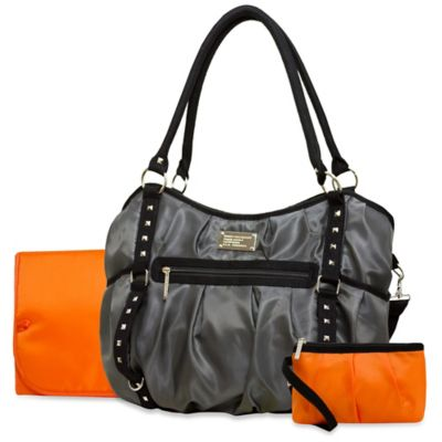 Wendy Bellissimo™ Tamale Studded Tote Diaper Bag in Grey/Orange