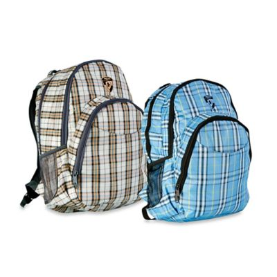 Heys® Atmosphere™ Laptop Backpack in Brown/Blue Check