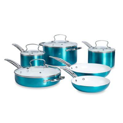 Denmark® 10-Piece Ceramic Nonstick Aluminum Cookware Set in Aqua