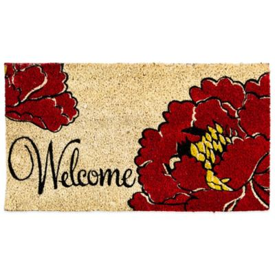 Welcome Poppy Coir Door Mat