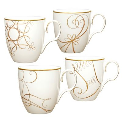 Noritake® Golden Wave Star/Reindeer/Candy Cane/Stocking Holiday Mugs (Set of 4)