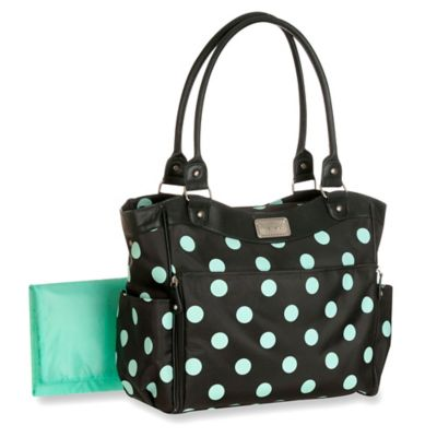 Carter's® Zip Down Changing Pad Diaper Bag in Grey/Mint Dot
