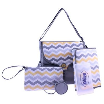 Boppy™ Vail Chevron Diaper Bag in Grey/Yellow