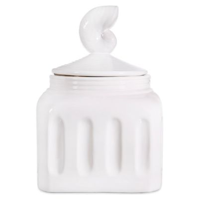 Home Essentials & Beyond Pure White 10-Inch Canister with Shell Finial