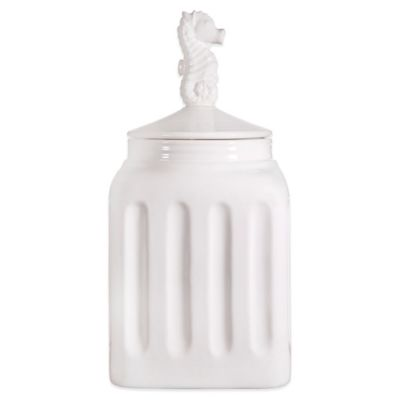 Home Essentials & Beyond Pure White 13.5-Inch Canister with Seahorse Finial