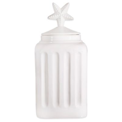 Home Essentials & Beyond Pure White 15-Inch Canister with Starfish Finial