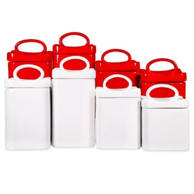 Wavy Square Canister in White (Set of 4)