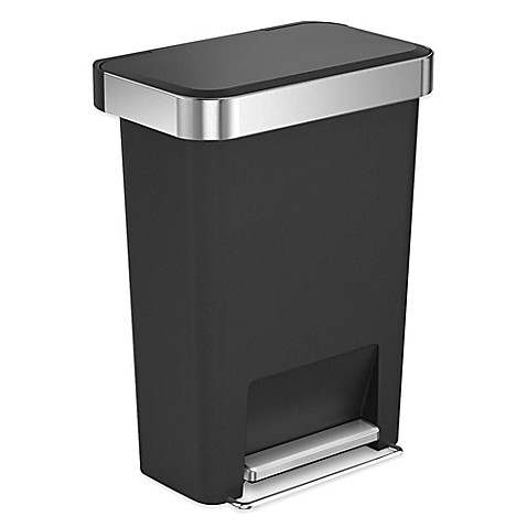 Simplehuman 45 liter plastic rectangular step trash can with liner pocket - Rectangular garbage cans ...