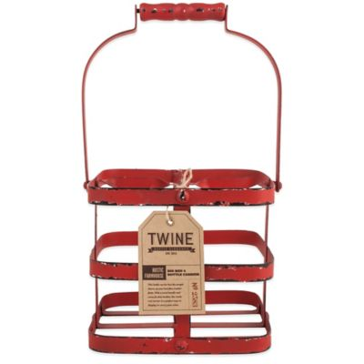 Twine Rustic Farmhouse Big Red 4-Bottle Carrier