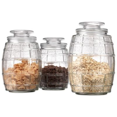 Glass Barrel Canisters (Set of 3)
