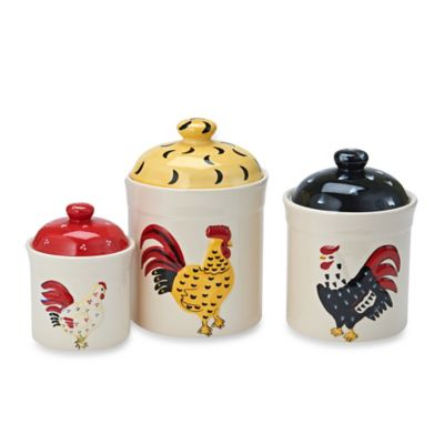 Home Essentials & Beyond Rooster Embossed Canisters (Set of 3)
