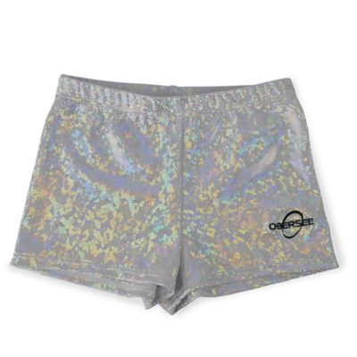 Obersee Size XX-Small Kids Gymnastics Short in Silver Hologram