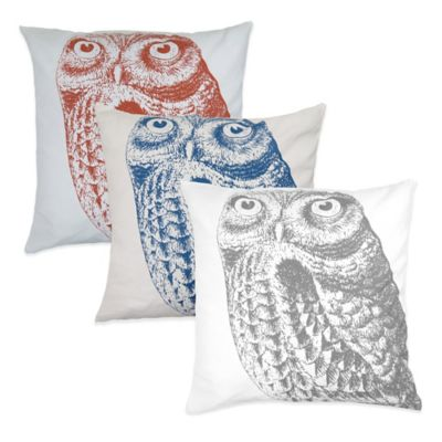 The Vintage House by Park B. Smith® Owl Square Throw Pillow in Denim