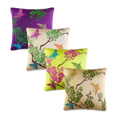 J by J. Queen New York Carla Square Throw Pillow in Lime