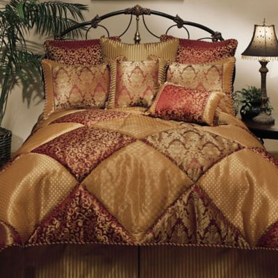 Sherry Kline Chateau King Comforter Set in Burgundy/Plum