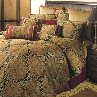 Sherry Kline Regal Queen Comforter Set in Red/Gold