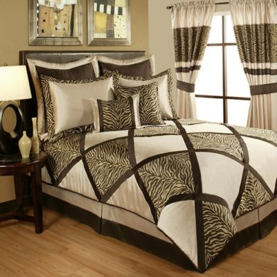 Sherry Kline Zebra Queen Comforter Set in Taupe/Brown