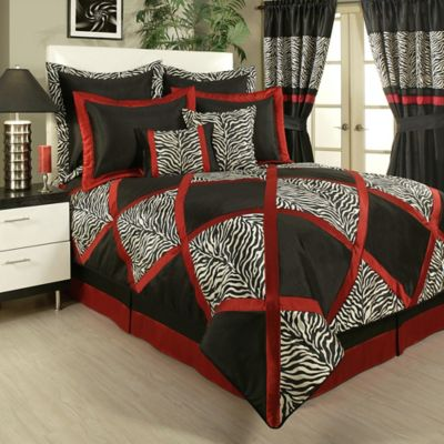 Sherry Kline Zebra Queen Comforter Set in Black/Red