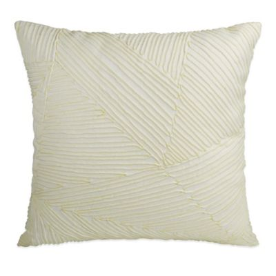 DKNY Gridlock Corded Square Throw Pillow in Ivory/Lime Green