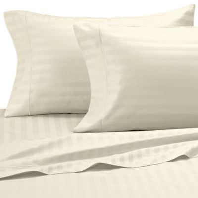 Damask Stripe 500-Thread-Count Olympic Egyptian Cotton Queen Sheet Set in Ivory