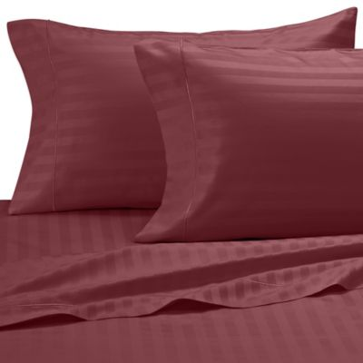 Damask Stripe 500-Thread-Count Olympic Egyptian Cotton Queen Sheet Set in Burgundy