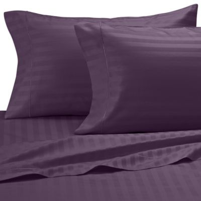 Damask Stripe 500-Thread-Count Olympic Egyptian Cotton Queen Sheet Set in Purple