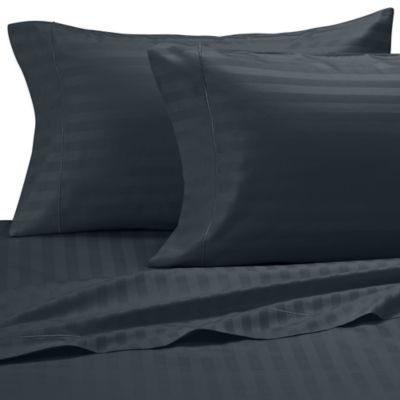 Damask Stripe 500-Thread-Count Olympic Egyptian Cotton Queen Sheet Set in Hunter Green