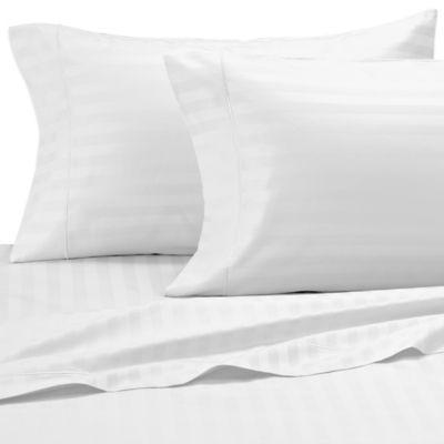 Damask Stripe 500-Thread-Count Egyptian Cotton Dual King Sheet Set in White