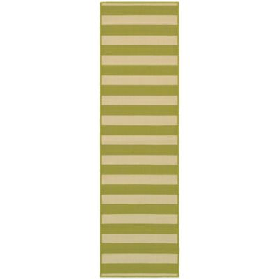 Oriental Weavers Riviera Stripe 2-Foot 3-Inch x 7-Foot 6-Inch Indoor/Outdoor Runner in Green/Ivory