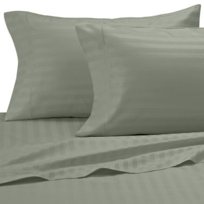 Damask Stripe 500-Thread-Count Egyptian Cotton Dual King Sheet Set in Sage