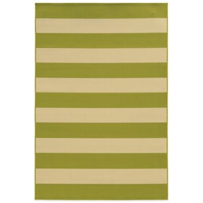 Oriental Weavers Riviera Stripe 6-Foot 7-Inch x 9-Foot 6-Inch Indoor/Outdoor Rug in Blue/Ivory