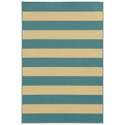 Oriental Weavers Riviera Stripe 6-Foot 7-Inch x 9-Foot 6-Inch Indoor/Outdoor Rug in Blue/Ivory