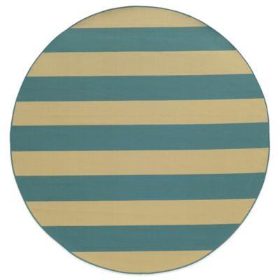 Oriental Weavers Riviera Stripe 7-Foot 10-Inch Round Indoor/Outdoor Rug in Blue/Ivory