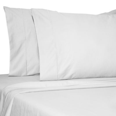Damask Solid 500-Thread-Count Egyptian Cotton Twin Sheet Set in White