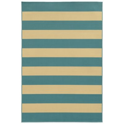 Oriental Weavers Riviera Stripe 8-Foot 6-Inch x 13-Foot Indoor/Outdoor Rug in Blue/Ivory