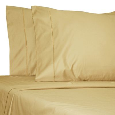 Damask Solid 500-Thread-Count Egyptian Cotton Full XL Sheet Set in Honey
