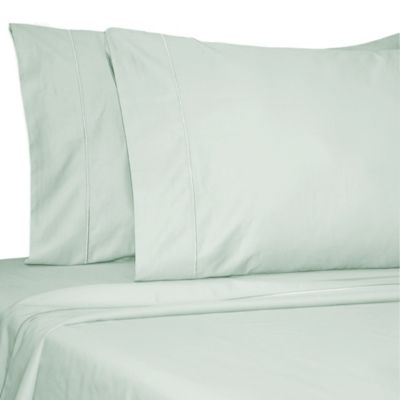 Damask Solid 500-Thread-Count Egyptian Cotton Twin XL Sheet Set in Light Blue