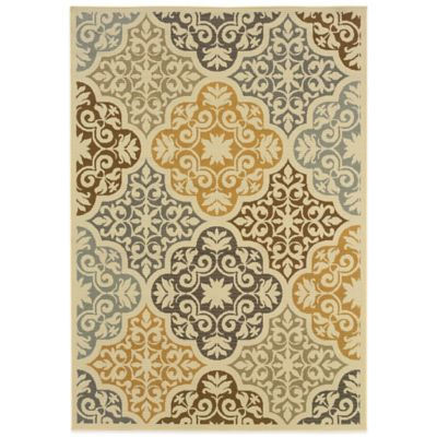 Oriental Weavers Bali Diamonds 1-Foot 9-Inch x 3-Foot 9-Inch Indoor/Outdoor Rug in Gold