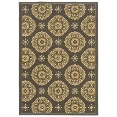 Oriental Weavers Bali Medallion 5-Foot 3-Inch x 7-Foot 6-Inch Indoor/Outdoor Rug in Brown