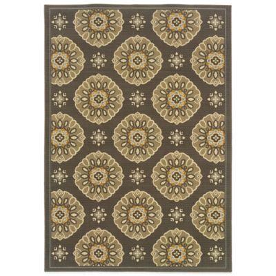 Oriental Weavers Bali Medallion 6-Foot 7-Inch x 9-Foot 6-Inch Indoor/Outdoor Rug in Brown