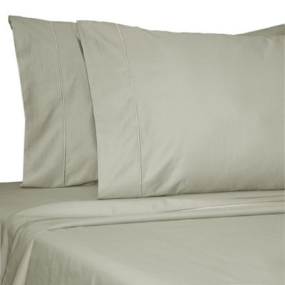 Damask Solid 500-Thread-Count Egyptian Cotton Twin XL Sheet Set in Silver