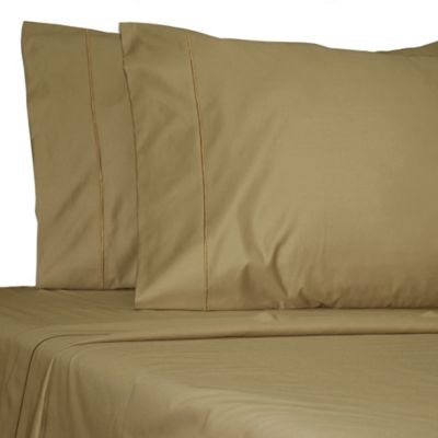Damask Solid 500-Thread-Count Egyptian Cotton Full Sheet Set in Mocha