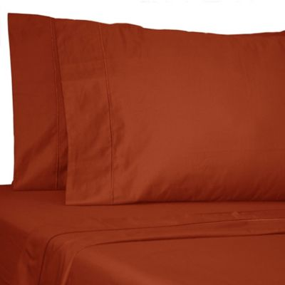 Damask Solid 500-Thread-Count Egyptian Cotton Twin XL Sheet Set in Spice